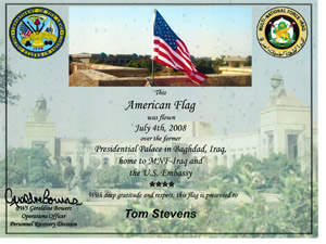 Certificate of the flag being flown along with a picture of the flag over the U.S. Embassy